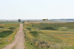 "This ""gravel road leading to broad horizons"" shows an area of dead-ice moraine topography with a crop-dusting airplane spraying a weed-infested slough area. About six miles south of Hurdsfield, Wells County, August 8, 2009."