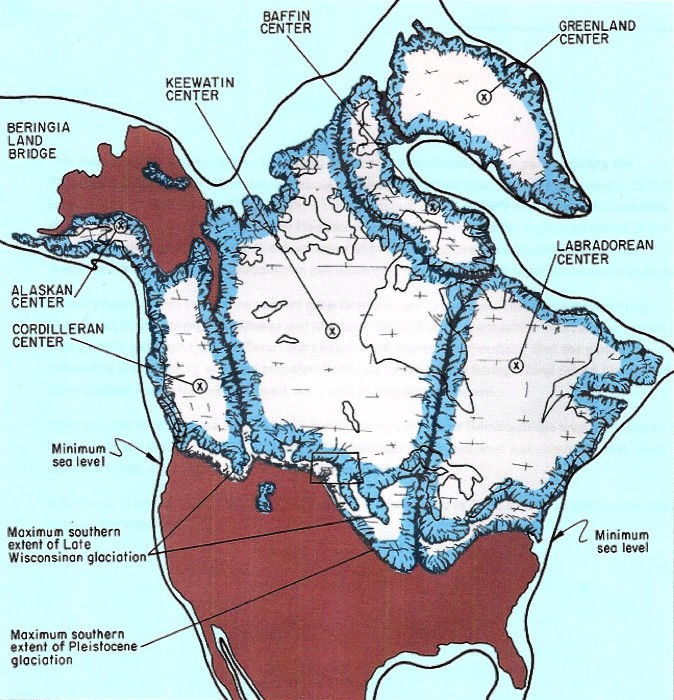 glaciers, North America, glacial map
