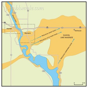 Fig. 9-D. Map showing the Missouri River Valley at Bismarck-Mandan. South of Bismarck (south of the railroad), the valley is wide because it corresponds to the old, northeast-trending preglacial valley of the Heart River. North of the city, the valley is narrow with quite steep sides. This part of the valley was formed when an ice-dammed lake to the north, in the preglacial Knife River valley, overflowed from a point near Wilton. A similar ice-dammed lake existed in the Heart River valley east of Bismarck – the glacial Lake McKenzie. Diagram: 1-29-2015.