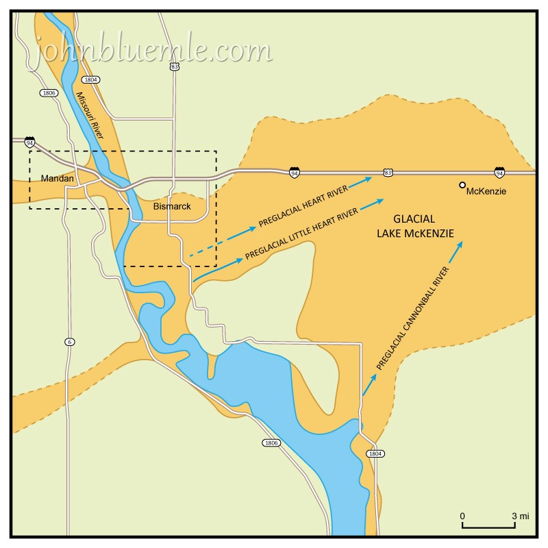 HOW THE MISSOURI RIVER FORMED North Dakota Geology - Missouri lakes map